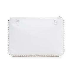 Bustina bianca in eco-pelle con profilo di mini-boules, Borse, 113308956EPBIANUNI, 003 preview