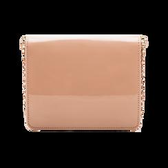 Pochette con tracolla rosa nude in ecopelle vernice, profili mini-borchie, Borse, 123308852VENUDEUNI, 002 preview