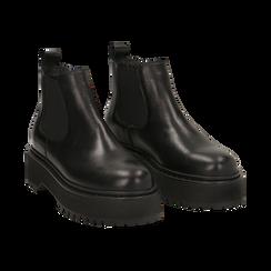 Chelsea boots neri in vera pelle, tacco 4,5 cm , Primadonna, 147728503PENERO040, 002 preview