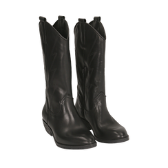 Camperos neri in pelle, tacco 4 cm, Primadonna, 168900020PENERO036, 002a