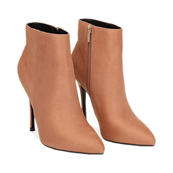 Ankle boots nude in microfibra, tacco 10,5 cm , Scarpe, 142168616MFNUDE035, 002 preview
