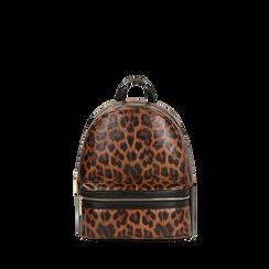 Sac à dos brun imprimé léopard, IDEE REGALO, 165100053EPLEMAUNI, 001a