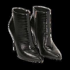 Ankle boots neri stampa cocco, tacco 11 cm , Stivaletti, 142168616CCNERO035, 002a