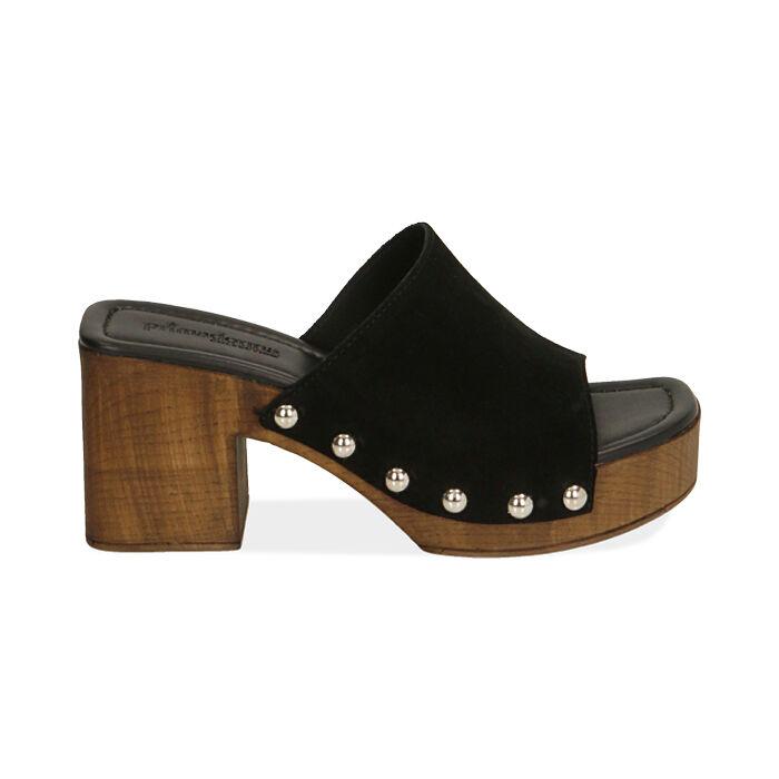 Sandali neri in camoscio, tacco 7,5 cm , Primadonna, 174304850CMNERO035