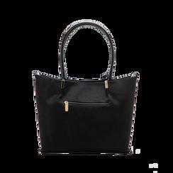 Maxi-bag a spalla nera in microfibra scamosciata, Saldi, 125702033MFNEROUNI, 002 preview
