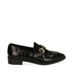 Mocasines negros con estampado de cocodrilo, Primadonna, 164964141CCNERO035, 001a