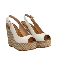 Sandali platform bianchi in eco-pelle, zeppa intrecciata 13 cm , Primadonna, 134907984EPBIAN035, 002a