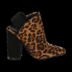 Mules leopard in microfibra, tacco 11 cm , Scarpe, 142186941MFLEOP035, 001 preview