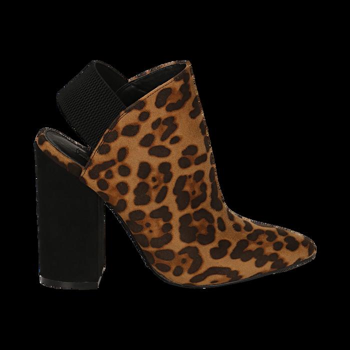 Mules leopard in microfibra, tacco 11 cm , Scarpe, 142186941MFLEOP035