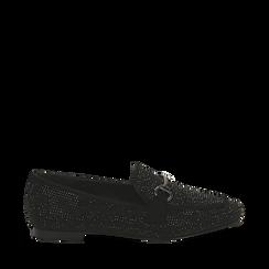 Mocassini neri in microfibra con cristalli , Scarpe, 144926102MPNERO035, 001a