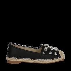Espadrillas nere in eco-pelle con gemme, Saldi, 134921159EPNERO035, 001a
