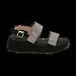 Sandali neri in microfibra, zeppa 4,50 cm , Scarpe, 154991102MPNERO036, 001 preview