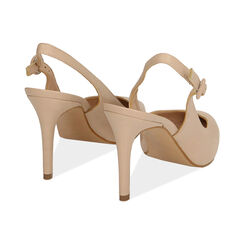 Slingback beige de piel, tacón 9 cm, Zapatos, 15D601002VIBEIG037, 004 preview