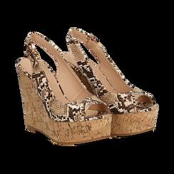 Sandali platform beige in eco-pelle, effetto snake skin, zeppa in sughero 12 cm , Primadonna, 134900982PTBEIG, 002 preview