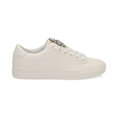 Sneakers bianche in eco-pelle con gemme scintillanti, Scarpe, 132619101EPBIAN036, 001 preview