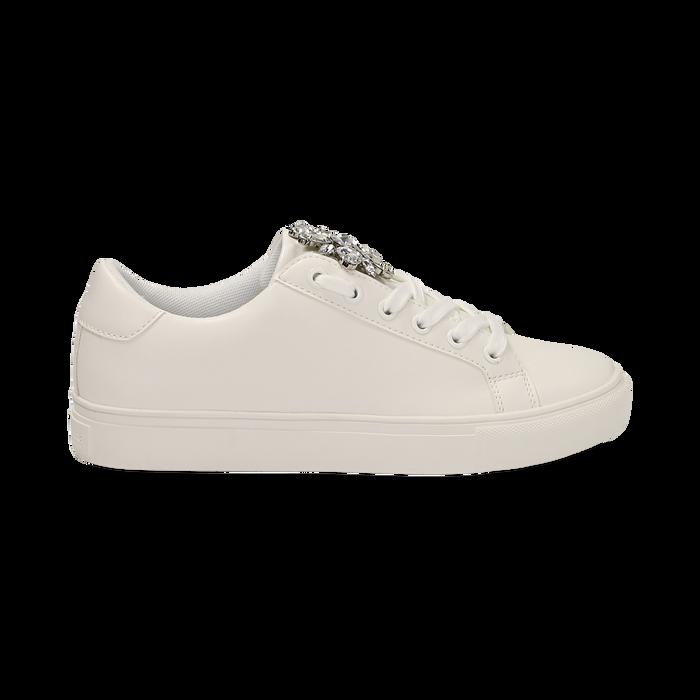 Sneakers bianche in eco-pelle con gemme scintillanti, Scarpe, 132619101EPBIAN036