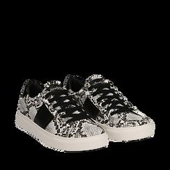 Sneakers bianco/nere in eco-pelle, effetto snake skin, Scarpe, 142619071PTBINE036, 002a