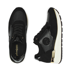 Sneakers en microfibra, cuña 4 cm , POMOCIONES, 162826712MFNERO037, 003 preview