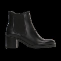 Chelsea Boots neri in vera pelle, tacco medio 6 cm, Primadonna, 127711422PENERO, 001 preview