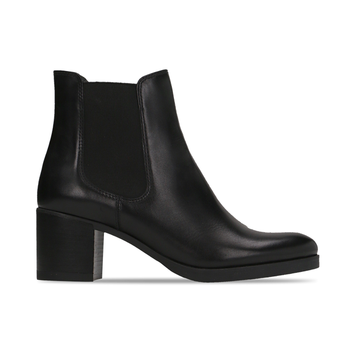 Chelsea Boots neri in vera pelle, tacco medio 6 cm, Primadonna, 127711422PENERO
