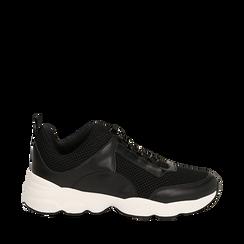 Dad shoes nere in tessuto tecnico, Scarpe, 133010051TSNERO036, 001a