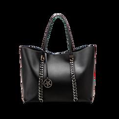 Borsa shopper nera in ecopelle con profilo catene, Saldi, 125702054EPNEROUNI, 001 preview