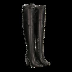 Stivali sopra il ginocchio con tacco 9,5 cm neri, Primadonna, 122186681EPNERO035, 002