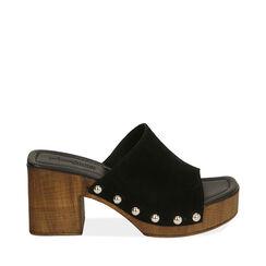 Sandales en daim noir, talon de 7,5 cm, 174304850CMNERO035, 001a