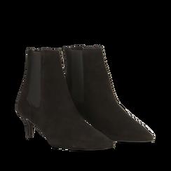 Stivaletti Chelsea neri in vero camoscio, tacco midi 6 cm, Primadonna, 12D618401CMNERO036, 002a