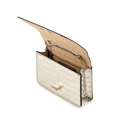 Bolso pequeño en eco-piel con estampado de cocodrilo color plateado, Bolsos, 155701124CCARGEUNI, 004 preview