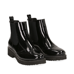 Chelsea boots neri in vernice con lavorazione Duilio, Scarpe, 143055702VENERO036, 002a