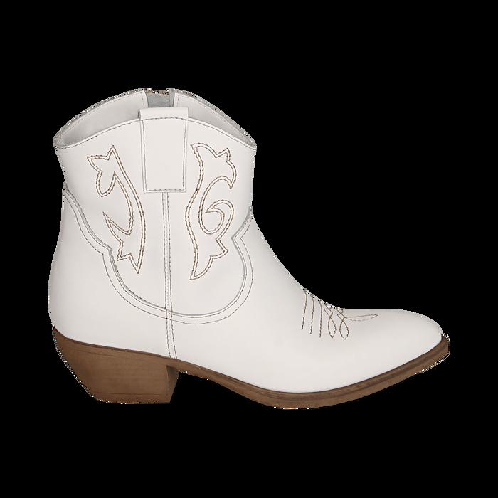 Camperas en piel color blanco, tacón 4 cm, Zapatos, 157732901PEBIAN036