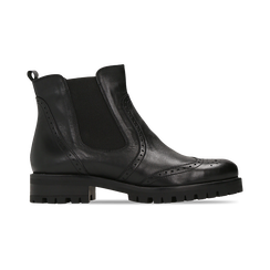 Chelsea Boots neri in vera pelle, Scarpe, 126905552VINERO, 001 preview