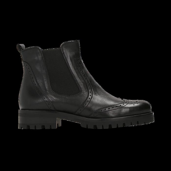 Chelsea Boots neri in vera pelle, Scarpe, 126905552VINERO