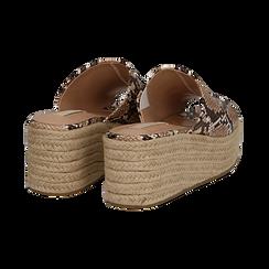 Zeppe platform beige in eco-pelle, effetto snake skin, zeppa in corda 7 cm, Saldi, 132708151PTBEIG036, 004 preview