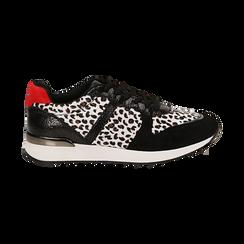 Sneakers leopard nere in eco-cavallino, Scarpe, 142008377CVLENE036, 001 preview