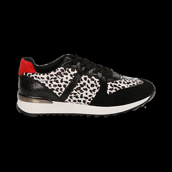Sneakers leopard nere in eco-cavallino, Scarpe, 142008377CVLENE036