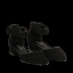 Décolleté nere in microfibra con cinturino alla caviglia, tacco 3,50 cm , Primadonna, 144820733MFNERO036, 002a