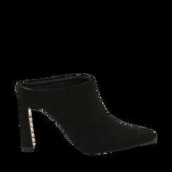 Mules nere in microfibra, tacco 10 cm  , Scarpe, 141755071MFNERO036, 001a