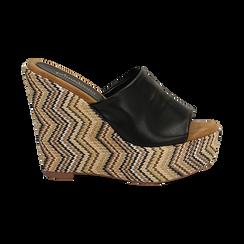 Mules platform nere in eco-pelle, zeppa intrecciata 13 cm, Primadonna, 132117214EPNERO035, 001 preview