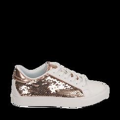 Sneakers oro rosa con paillettes, Scarpe, 152602021PLRAOR035, 001a