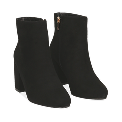 Ankle boots nero in microfibra, tacco 7,5 cm , Primadonna, 162762715MFNERO036, 002a