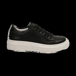 Sneakers nere in eco-pelle con suola flat, Scarpe, 132019051EPNERO036, 001 preview
