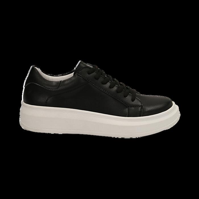 Sneakers nere in eco-pelle con suola flat, Scarpe, 132019051EPNERO036