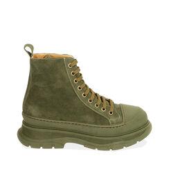 Sneakers verdi in camoscio, platform 5,5 cm , Primadonna, 18A504001CMVERD035, 001a