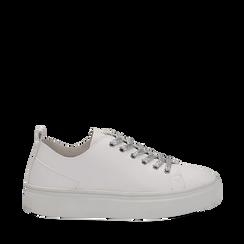 Sneakers bianche in eco-pelle, Scarpe, 132500778EPBIAN035, 001a