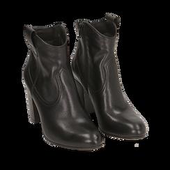 Botines en piel color negro, tacón 7,50 cm, Primadonna, 157725926PENERO035, 002a