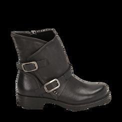 Biker boots neri con fibbie in eco-pelle, Stivaletti, 140721051EPNERO035, 001a