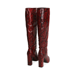 Stivali rossi in eco-pelle stampa pitone, tacco 9,5 cm , Stivali, 142166710PTROSS036, 003 preview