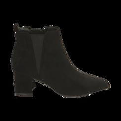 Ankle boots neri in microfibra, tacco 6 cm , Primadonna, 164931531MFNERO035, 001 preview
